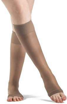 Sigvaris Women's SHEER FASHION 120 Open Toe Calf Compression Hose - Taupe | SIZE B