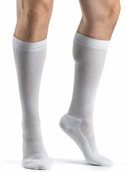 Sigvaris 182 Cushioned Cotton 15-20mmHg Closed Toe Men's Sock - White | SIZE B