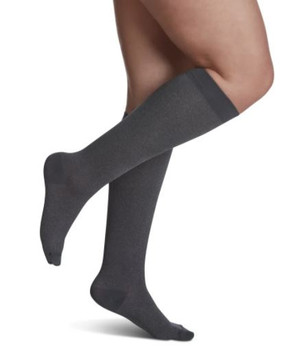 Sigvaris Well Being 143 Microfiber Shades Women's Closed toe Socks - 15-20 mmHg - Graphite Heather | SIZE C