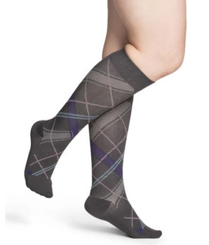 Sigvaris Well Being 143 Microfiber Shades Women's Closed toe Socks - 15-20 mmHg - Grey Plaid   SIZE A