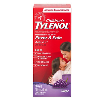 Tylenol Fever & Pain - Ages 2 - 11 - Grape | 100ml