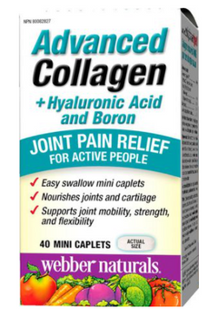 Webber Naturals Advanced Collagen + Hyaluronic Acid and Boron - Joint Pain Relief | 40 Mini Caplets
