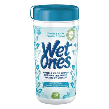 Wet Ones Hand & Face Wipes with Vitamin E and Aloe | 40 Wipes