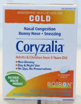 Boiron Coryzalia Homeopathic Medicine for Nasal Congestion, Runny Nose & Sneezing | 60 Chewable Tablets