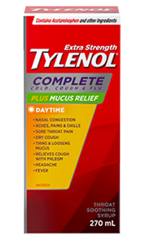 Tylenol Extra Strength Complete Cold, Cough & Flu Plus Mucus Relief Daytime Syrup | 270 ml