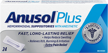 Anusol Plus Hemorrhoidal Suppositories with Anesthetic | 24 Count