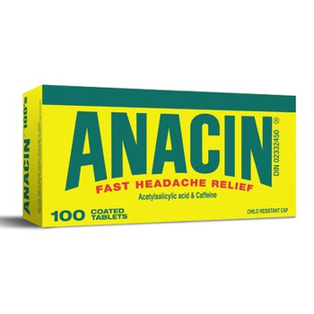Anacin Acetylsalicylic Acid & Caffeine Tablets | 100 Coated Tablets