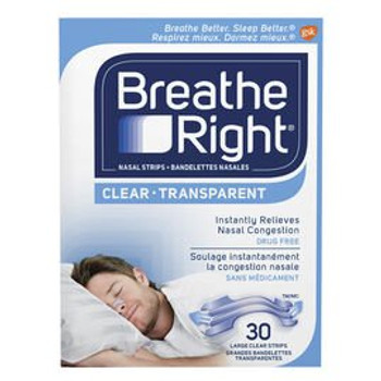 Breathe Right Clear Nasal Strips | 30 Large Strips