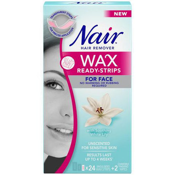 Nair Hair Remover Wax Ready-Strips for Face with Soothing White Lily | 24 Single Sided Wax Strips