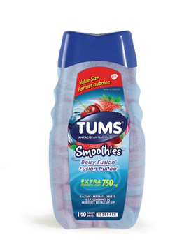 Tums Extra Strength 750 mg Antacid Tablets - Smoothies Berry Fusion | 140 Count