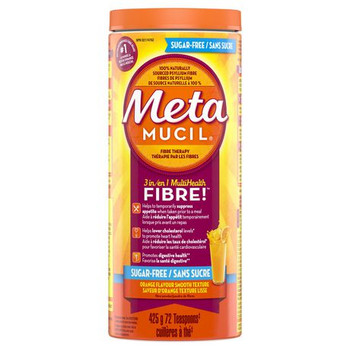 Metamucil 3 in 1 Multi Health Orange Flavour Sugar Free Smooth Fibre Powder | 425 g