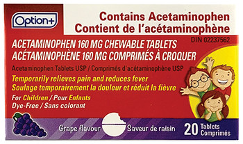 Option+ Junior Strength Acetaminophen Tablets - Grape Flavour | 20 Chewable Tablets