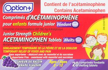 Option+ Junior Strength Acetaminophen Melts Tablets - Grape Flavour | 20 Melting Tablets