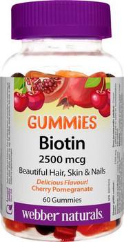 Webber Naturals Biotin 2500 mcg - Cherry Pomegranate Flavour | 60 Gummies