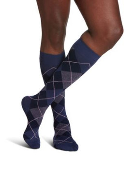 Sigvaris Well Being 183 Microfiber Shades Men's Closed Toe Socks - 15-20 mmHg - Purple Argyle  | SIZE A