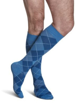 Sigvaris Well Being 183 Microfiber Shades Men's Closed Toe Socks - 15-20 mmHg - Royal Blue Argyle  | SIZE B