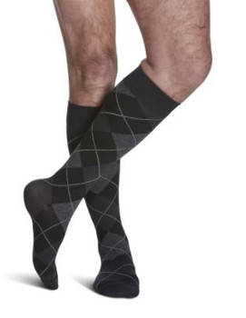 Sigvaris Well Being 183 Microfiber Shades Men's Closed Toe Socks - 15-20 mmHg - Onyx Argyle  | SIZE A