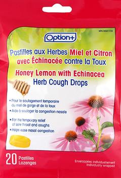 Option+ Cough Drops - Honey Lemon With Echinacea | 20 Lozenges