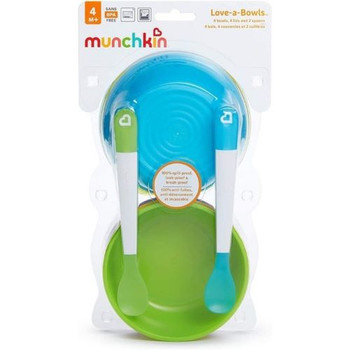Munchkin Love-A-Bowls | 4 Bowls, 4 Lids and 2 Spoons