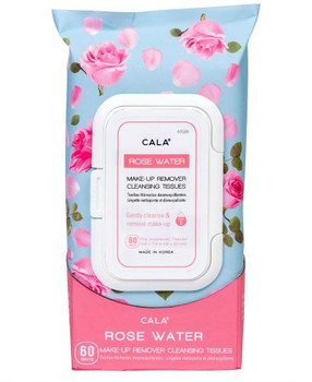 Cala Rose Water Make-Up Remover Cleansing Tissues | 60 Pre Moistened Tissues