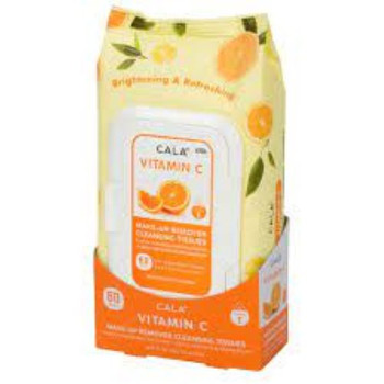Cala Vitamin C Make-Up Remover Cleansing Tissues | 60 Pre Moistened Tissues