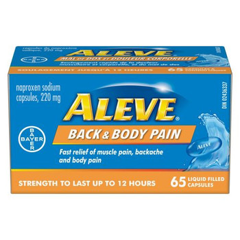 Aleve - Back & Body Pain  - Strength To Last Up To 12 Hours | 65 Liquid Filled Capsules