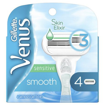 Gillette Venus Sensitive Smooth Replacement Razor Blades with Skin Elixir | 4 Cartridges