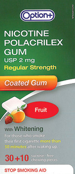 Option+ 2 mg Nicotine Polacrilex Coated Gum with Whitening - Fruit | 40 Pieces