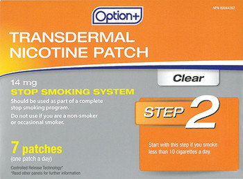 Option+ 14 mg Transdermal Nicotine Patch - Step 2 | 7 Clear Patches