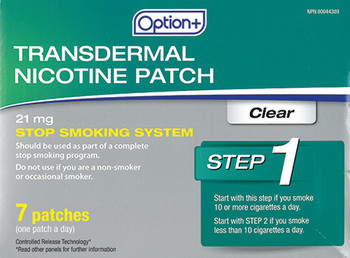 Option+ 21 mg Transdermal Nicotine Patch - Step 1   7 Clear Patches