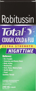 Robitussin Total Cough, Cold & Flu Nighttime Extra Strength Multi-Symptom Syrup - Cherry Flavour | 240 ml
