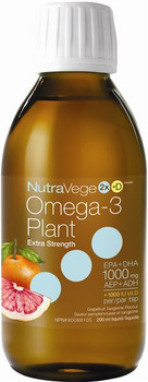 NutraVege Extra Strength Omega-3 Plant Liquid - Grapefruit Tangerine | 200 ml