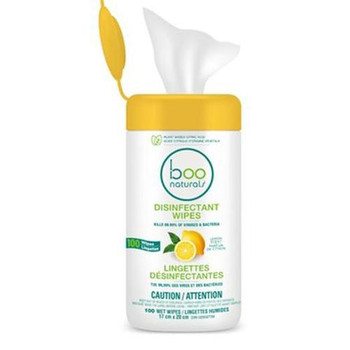 Boo Naturals All Purpose Disinfectant Wipes - Lemon Scent | 100 Wet Wipes