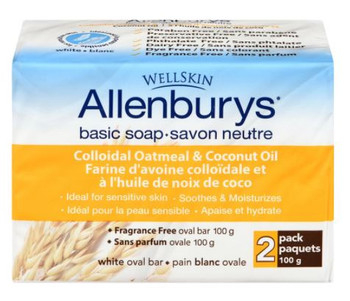 WellSkin Allenburys Colloidal Oatmeal & Coconut OIl Basic Soap Bars | 2 Bars