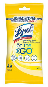 Lysol On the Go Disinfecting Wipes | 15 Wet Wipes
