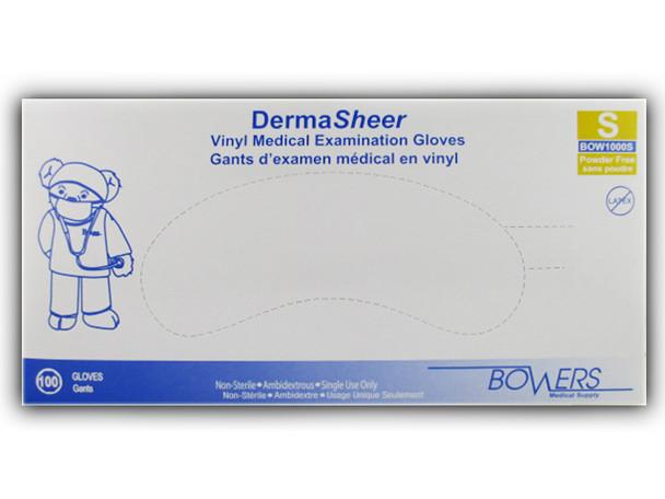 Bowers DermaSheer Vinyl Medical Examination Gloves Small   100 pack