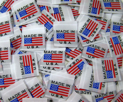 White American Flag Made in USA Woven Clothing Sewing Garment Label Tags