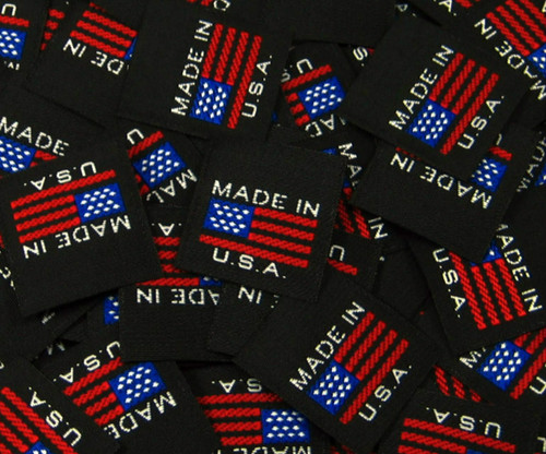 Black American Flag Made in USA Woven Clothing Sewing Garment Label Tags