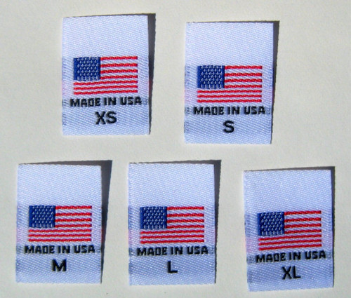 White XS-XL Woven Clothing Sewing Garment Label Tags - American Flag Made in USA