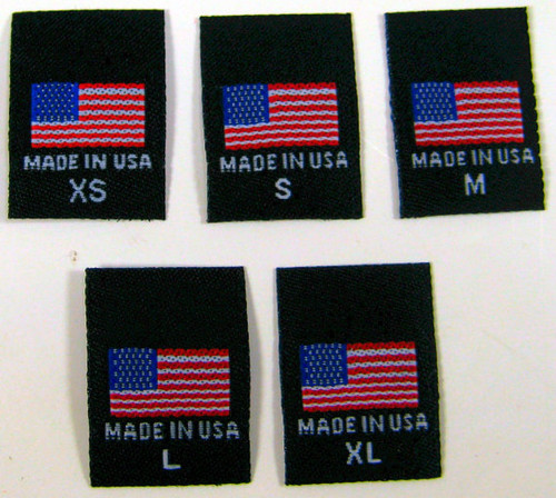 Black XS-XL Woven Clothing Sewing Garment Label Tags - American Flag Made in USA