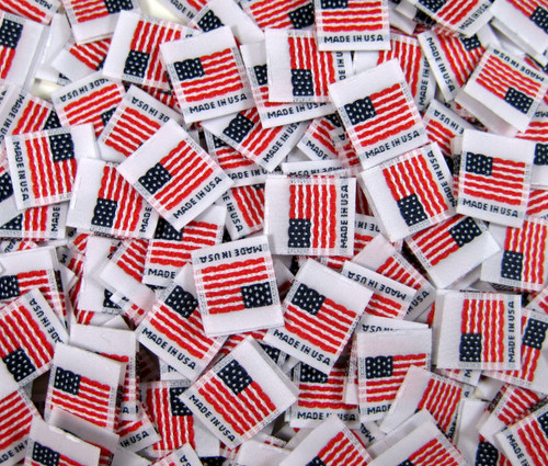 White Woven American Flag Made in USA Folded Double Sided Clothing Sewing Garment Label Tags