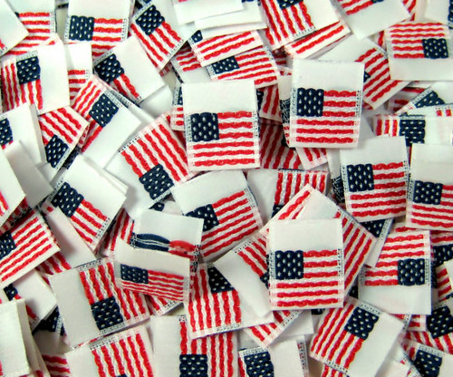 White Woven American Flag Folded Double Sided Clothing Sewing Garment Label Tags