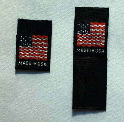 Black Woven American Flag Made in USA Folded Clothing Sewing Garment Label Tags
