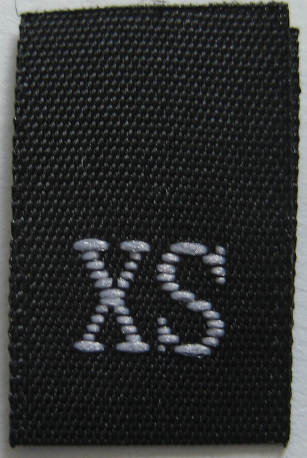 Black Woven Clothing Sewing Garment Label Size Tags - Extra Small - X-Small - XS