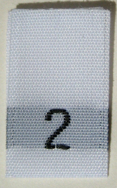 White Woven Clothing Sewing Garment Label Size Tags - 2 - TWO (25-1000pcs)