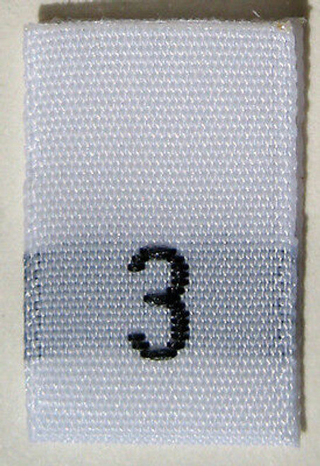 White Woven Clothing Sewing Garment Label Size Tags - 3 - THREE