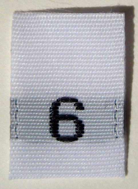 White Woven Clothing Sewing Garment Label Size Tags - 6 - SIX