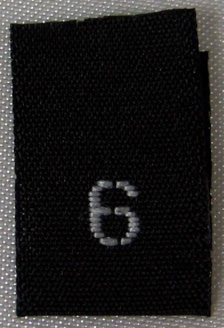 Black Woven Clothing Sewing Garment Label Size Tags - 6 - SIX