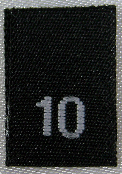 Black Woven Clothing Sewing Garment Label Size Tags - 10 - TEN
