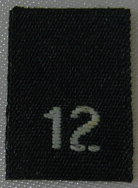 Black Woven Clothing Sewing Garment Label Size Tags - 12 - TWELVE